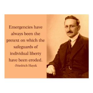 Hayek op Noodsituaties Briefkaart