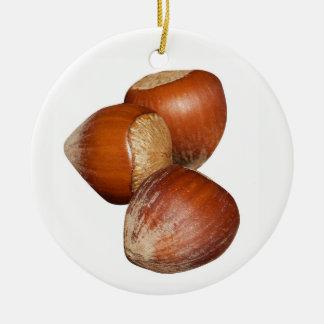 Hazelnoten Rond Keramisch Ornament