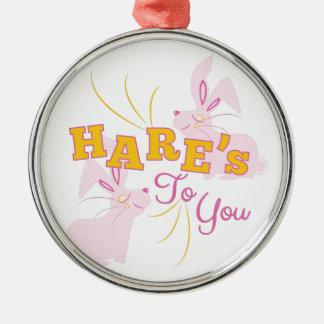 Hazen aan u zilverkleurig rond ornament