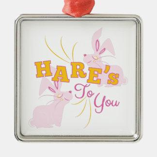 Hazen aan u zilverkleurig vierkant ornament