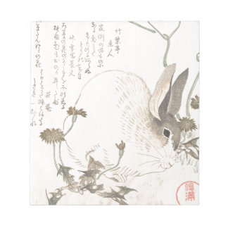 Hazen en Paardebloem, Kubo Shunman, Japans Art. Notitieblok