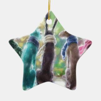 Hazen met sjaals keramisch ster ornament