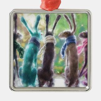 Hazen met sjaals zilverkleurig vierkant ornament
