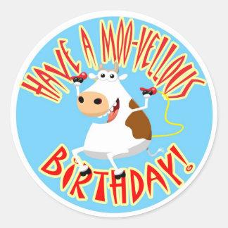 Heb een Verjaardag moo-Vellous Ronde Sticker