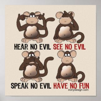 Heb Geen Humor van de Apen van de Pret Poster