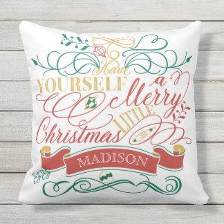 Heb zelf Vrolijk Weinig Typografie van Kerstmis Buitenkussen