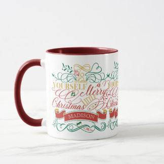 Heb zelf Vrolijk Weinig Typografie van Kerstmis Mok