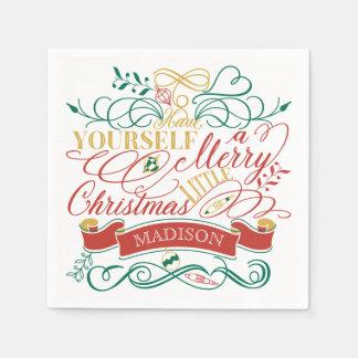Heb zelf Vrolijk Weinig Typografie van Kerstmis Papieren Servetten