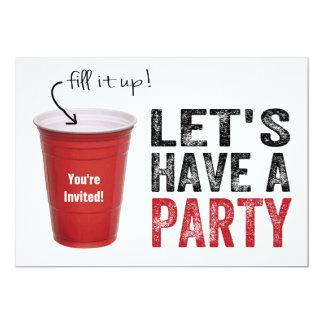 Hebben een Partij! Grappige Rode Kop 12,7x17,8 Uitnodiging Kaart