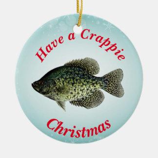"""""""Hebben Kerstmis Crappie"""" kenmerkend zwarte Rond Keramisch Ornament"""