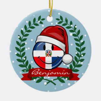 Heel Kerstmis van de Vlag van de Dominicaanse Rond Keramisch Ornament