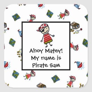 Heel kleine Piraten Vierkante Sticker