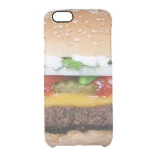 heerlijke cheeseburger met groenten in het doorzichtig iPhone 6/6S hoesje