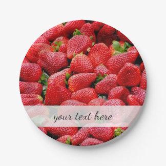 heerlijke donkere roze aardbeienfoto papieren bordje