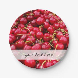 heerlijke leuke rode kersenvruchten foto papieren bordjes