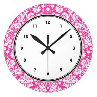 Heet roze damastpatroon grote klok