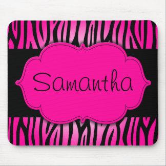 Heet Roze en Zwart Gepersonaliseerd Zebra Muismat