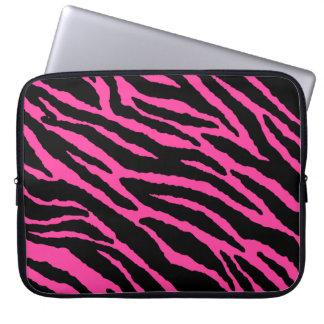 Heet Roze Gestreept Laptop Sleeve