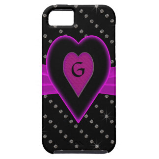 Heet Roze Hart & Lint, Diamanten Tough iPhone 5 Hoesje