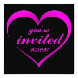 Heet Roze Hart op de Zwarte Uitnodiging van de