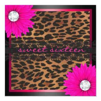 Heet Roze Snoepje Zestien van de Luipaard 13,3x13,3 Vierkante Uitnodiging Kaart