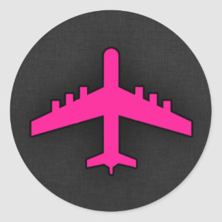 Heet Roze Vliegtuig Ronde Sticker