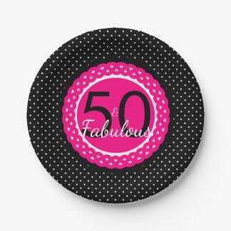 Heet Roze Zwart Stip 50 & de Fabelachtige Partij Papieren Bordje