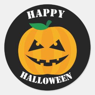 Hefboom-o-lantaarn Gelukkig Halloween op Zwarte Ronde Sticker