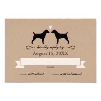 Hefboom Russell Terrier Silhouettes Wedding RSVP Kaart