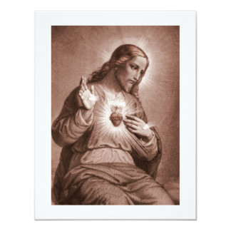 Heilig Hart met Kruis 10,8x13,9 Uitnodiging Kaart