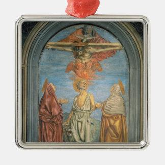 Heilige Drievuldigheid met St. Jerome (fresko) Zilverkleurig Vierkant Ornament