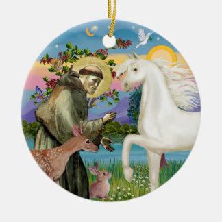 Heilige Francis - Arabisch (wit) Paard Rond Keramisch Ornament
