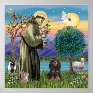 Heilige Francis & de Cocker-spaniël van zwart-Tan Poster