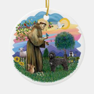 Heilige Francis - de Portugese (zwarte) Hond van Rond Keramisch Ornament