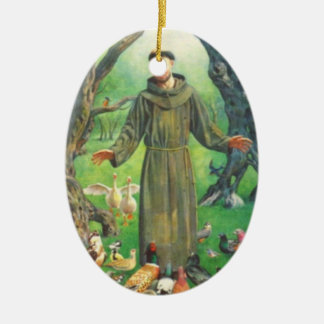 Heilige Francis en gebed voor huisdieren Keramisch Ovaal Ornament