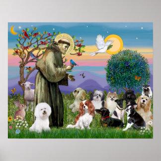 Heilige Francis met 10 Honden Poster