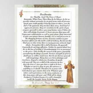 Heilige Francis van de WENSEN van Assisi Poster