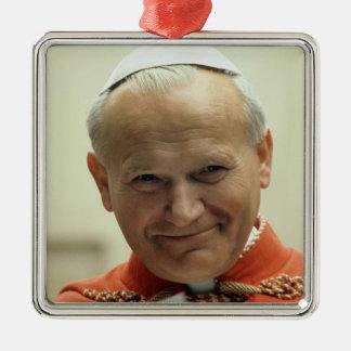 Heilige John Paul Groot Zilverkleurig Vierkant Ornament