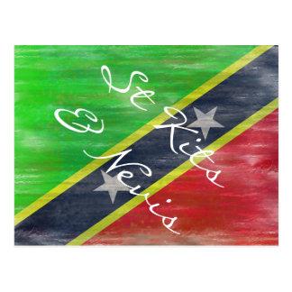 Heilige Kitts & Nevis verontruste vlag Briefkaart