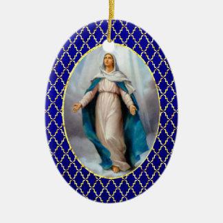 Heilige Maagdelijke Mary Keramisch Ovaal Ornament