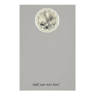 Heilige Maagdelijke Mary met Baby Jesus Lace Briefpapier