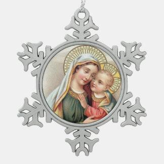 Heilige Maagdelijke Mary met Baby Jesus Tin Sneeuwvlok Ornament