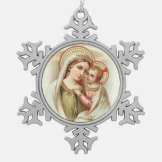 Heilige Maagdelijke Mary Mother Baby Jesus Tin Sneeuwvlok Ornament