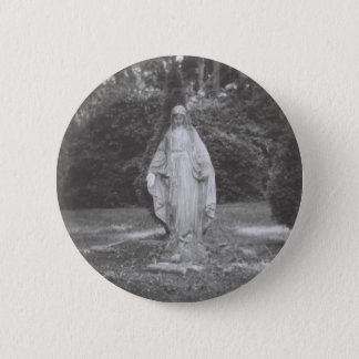 Heilige Maagdelijke Mary Stone Statue Ronde Button 5,7 Cm