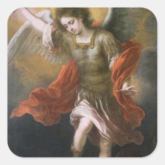 Heilige Michael stoot de duivel aan het kloof uit Vierkante Sticker