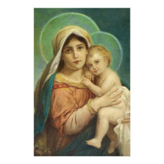 Heilige Moeder Mary Baby Jesus Briefpapier