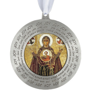 Heilige Moeder Mary Madonna Icon Ornament Russian Tin Rond Ornament