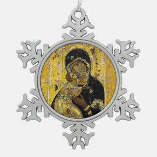 Heilige Moeder Mary Madonna Icon Ornament Russian Tin Sneeuwvlok Ornament