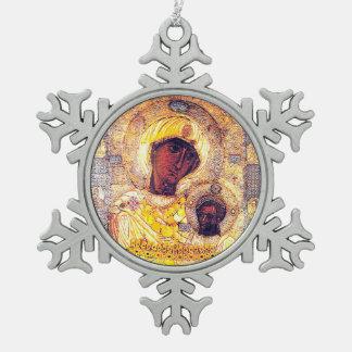 Heilige Moeder Mary Madonna Icon Ornament Russian Tin Sneeuwvlok Ornament