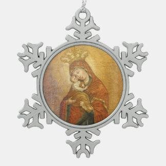 Heilige Moeder van het pictogramornament van Tin Sneeuwvlok Ornament